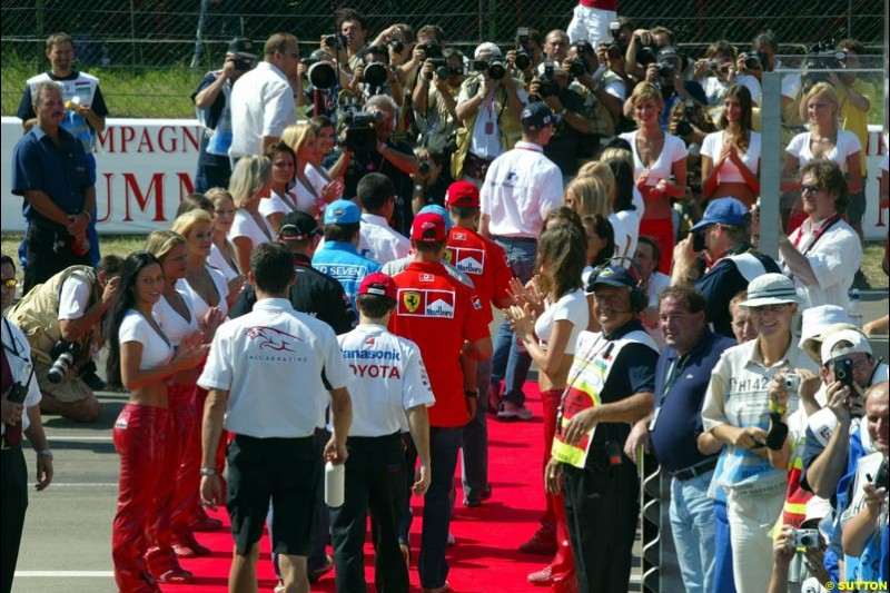 The Drivers Parade. Hungarian Grand Prix Sunday. Hungaroring, Budapest. 24th August, 2003.