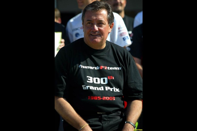 Giancarlo Minardi, Minardi Team Founder, celebrates the teams 300th Grand Prix. Hungarian Grand Prix Sunday. Hungaroring, Budapest. 24th August, 2003.