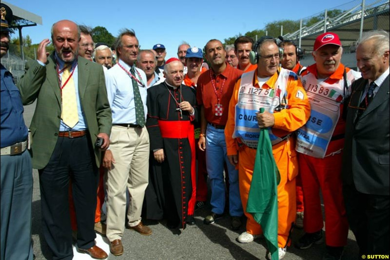The Monza Priest paid the circuit a visit. Italian Grand Prix Friday, Monza, Italy. 12 September 2003.