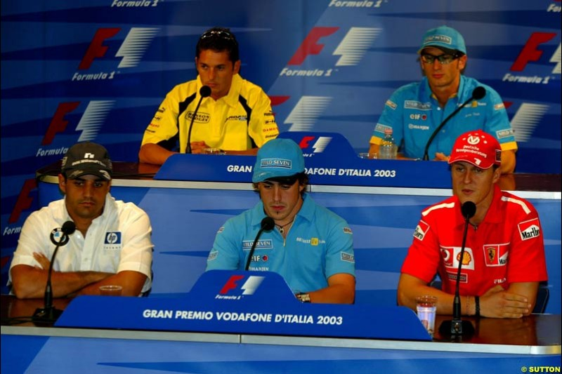 Friday Press Conference. Italian Grand Prix Friday, Monza, Italy. 12 September 2003.