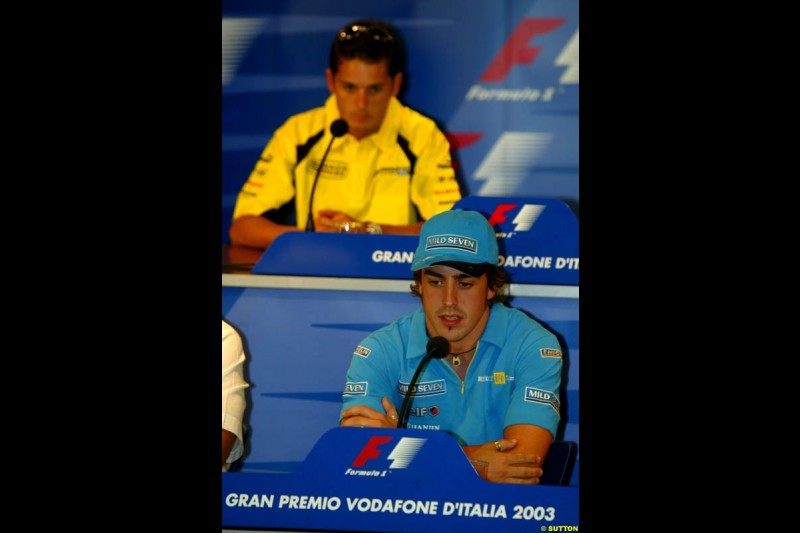 Fernando Alonso, Renault, during the Friday Press Conference. Italian Grand Prix Friday, Monza, Italy. 12 September 2003.