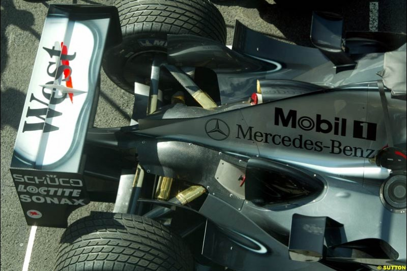 The rear of the McLaren. Italian Grand Prix Friday, Monza, Italy. 12 September 2003.