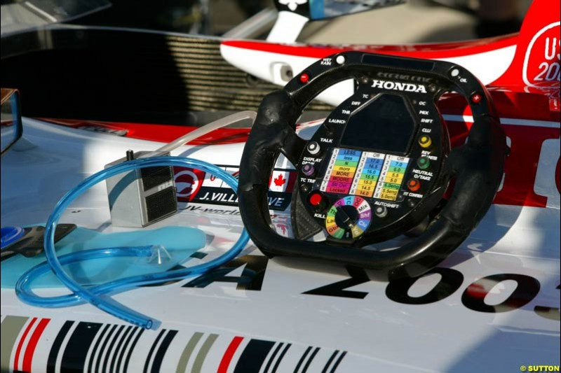 BAR steering wheel. United States GP, Indianapolis Motor Speeway. Thursday, September 25th 2003.