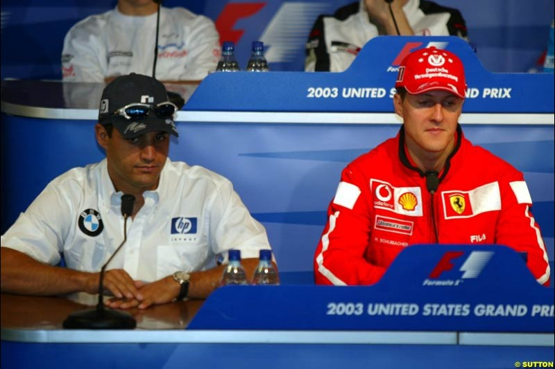 The Thursday Press Conference. United States GP, Indianapolis Motor Speeway. Thursday, September 25th 2003.