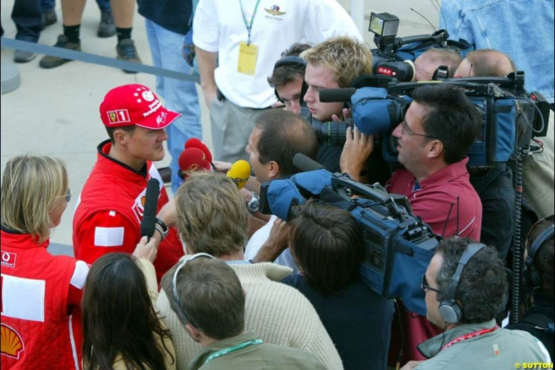 Michael Schumacher. United States GP, Indianapolis Motor Speeway. Thursday, September 25th 2003.