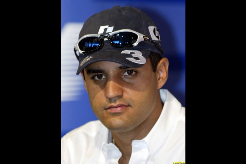 Williams driver Juan Pablo Montoya. United States GP, Indianapolis Motor Speeway. Thursday, September 25th 2003.