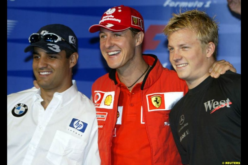 The World Championship contenders: Juan Pablo Montoya, Michael Schumacher and Kimi Raikkonen. United States GP, Indianapolis Motor Speeway. Thursday, September 25th 2003.