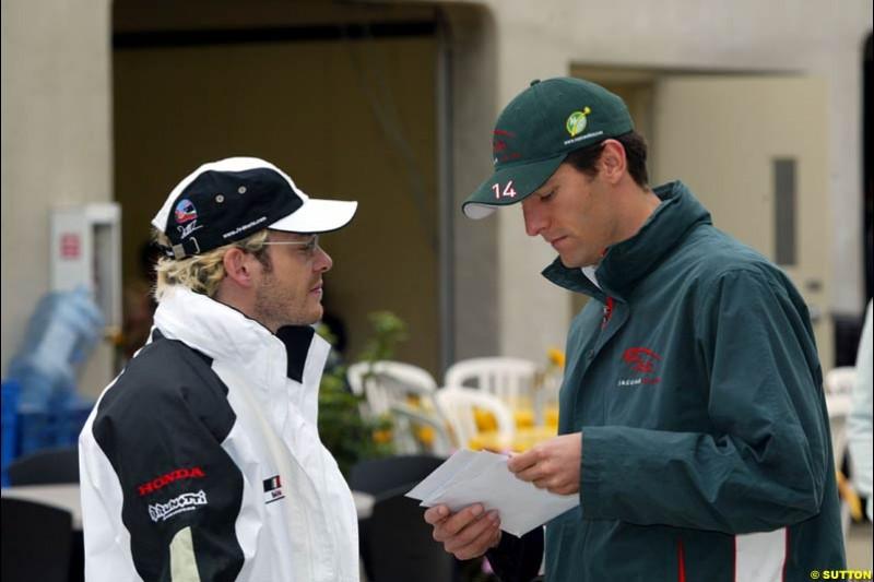Jacques Villeneuve and Mark Webber. United States GP, Indianapolis Motor Speeway. Sunday, September 29th 2003.