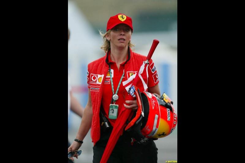 Michael Schumacher's press officer Sabine Kehm. Japanese Grand Prix, Suzuka, Japan. Saturday, October 11th 2003.