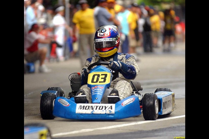 The Formula Smiles Foundation is headed by Juan Pablo Montoya and his wife Connie in partnership with Easykart Colombia. The event helped to raise funds to aid children in need in Colombia. Carrera De Estrellas Formula Smiles Foundation Karting, Cartegna, Colombia, 15 November 2003.