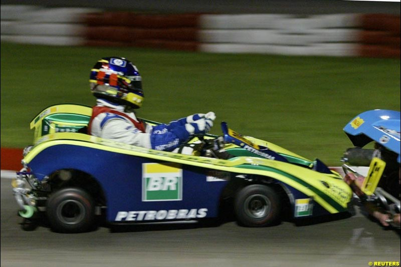 Juan Pablo Montoya takes part in the Granja Viana 500 mile karting race. Montoya finished the 12-hour race 17th after his Petrobras team encountered various mechanical problems. November 9th 2003, Sao Paulo, Brazil.