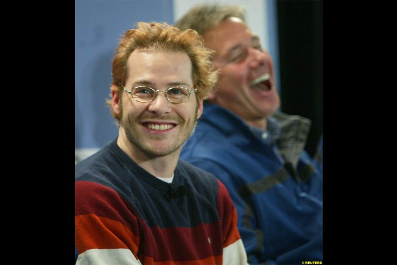 Jacques Villeneuve and manager Craig Pollock in a charity skiing event in Mont-Tremblant, Quebec, Canada. December 12, 2003.
