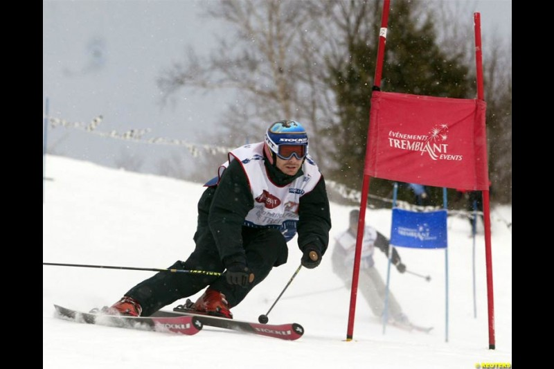Jacques Villeneuve in a charity skiing event in Mont-Tremblant, Quebec, Canada. December 12, 2003.