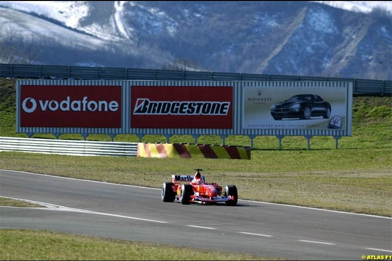 Michael Schumacher takes the F2004 for its first running. Fiorano, Italy. January 30th 2004.