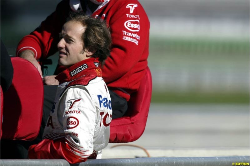 Cristiano da Matta, Toyota. F1 testing at Valencia, Spain. January 29th 2004.