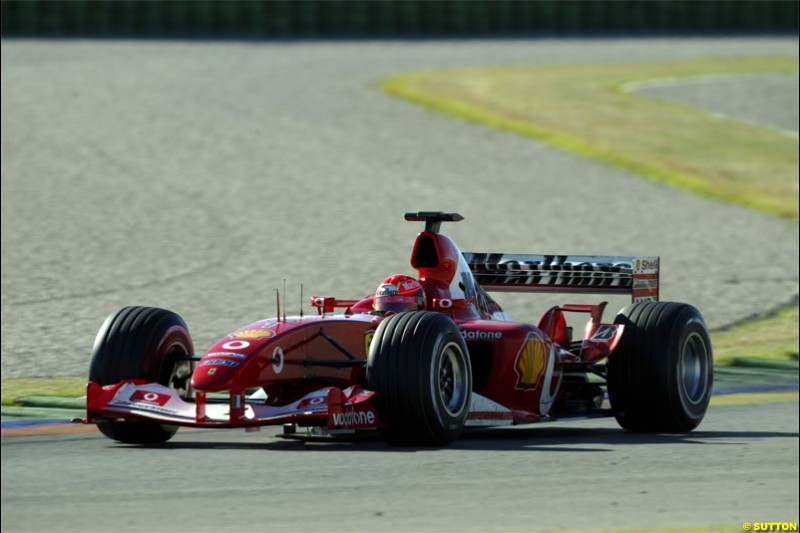 Michael Schumacher, Ferrari. F1 testing at Valencia, Spain. January 29th 2004.