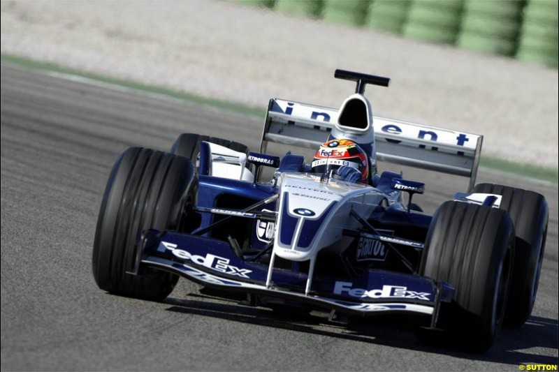 Antonio Pizzonia, Williams. F1 Testing at Valencia, Spain. January 28th 2004.