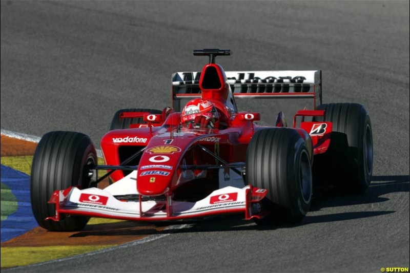 Michael Schumacher, Ferrari. F1 Testing at Valencia, Spain. January 28th 2004.