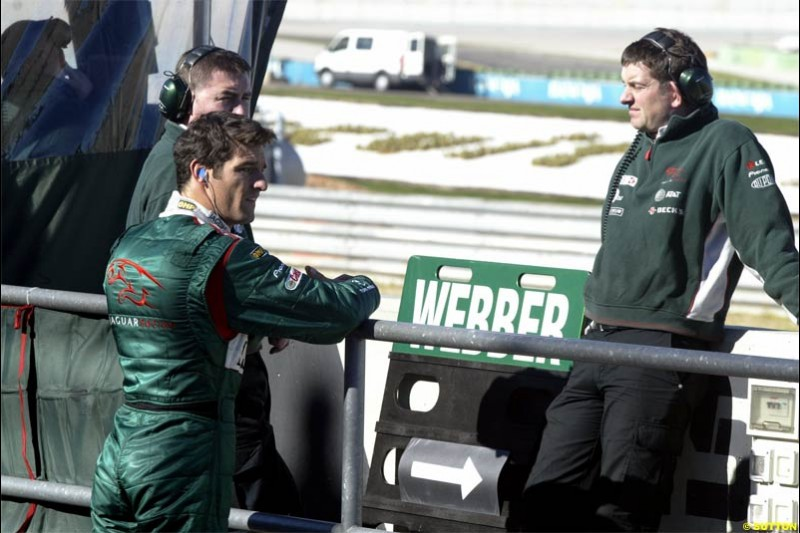 Mark Webber, Jaguar. F1 Testing at Valencia, Spain. January 28th 2004.