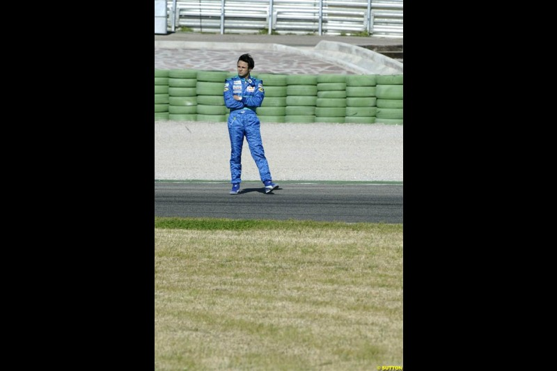 F1 Testing at Valencia, Spain. January 27th 2004. Felipe Massa on track after his Sauber broke down.