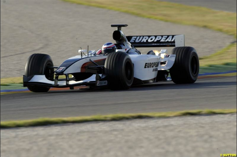 F1 Testing at Valencia, Spain. January 27th 2004. Gianmaria Bruni, Minardi.