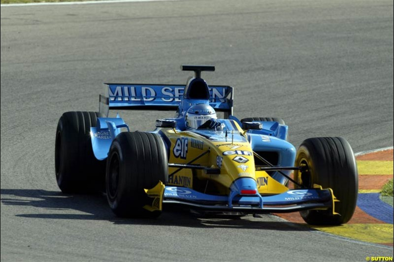 F1 Testing at Valencia, Spain. January 27th 2004. Jarno Trulli, Renault.