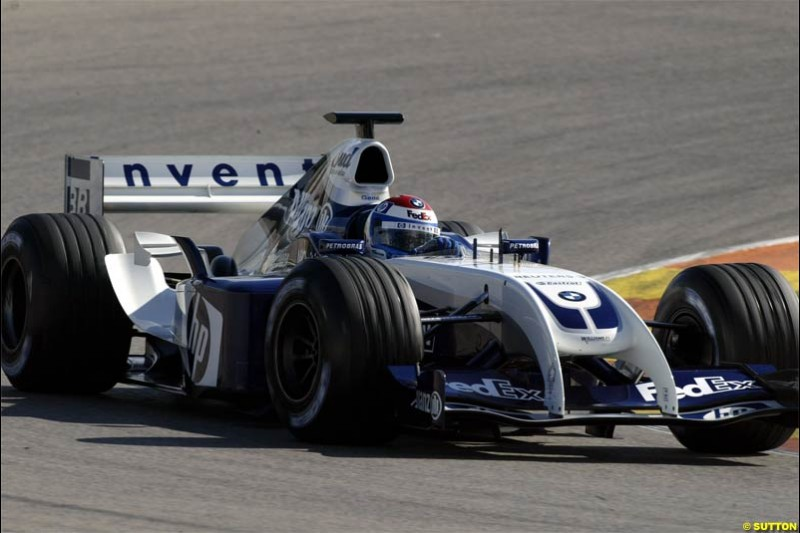 F1 Testing at Valencia, Spain. January 27th 2004. Juan Pablo Montoya, Williams.