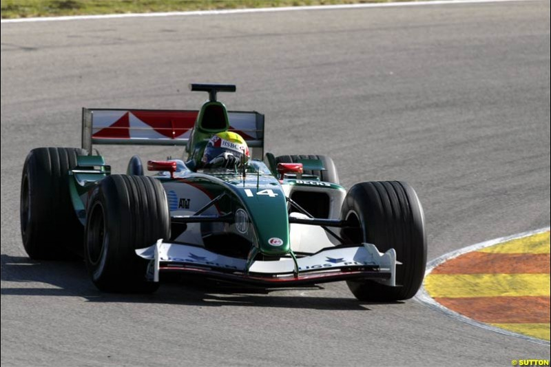 F1 Testing at Valencia, Spain. January 27th 2004. Mark Webber, Jaguar.