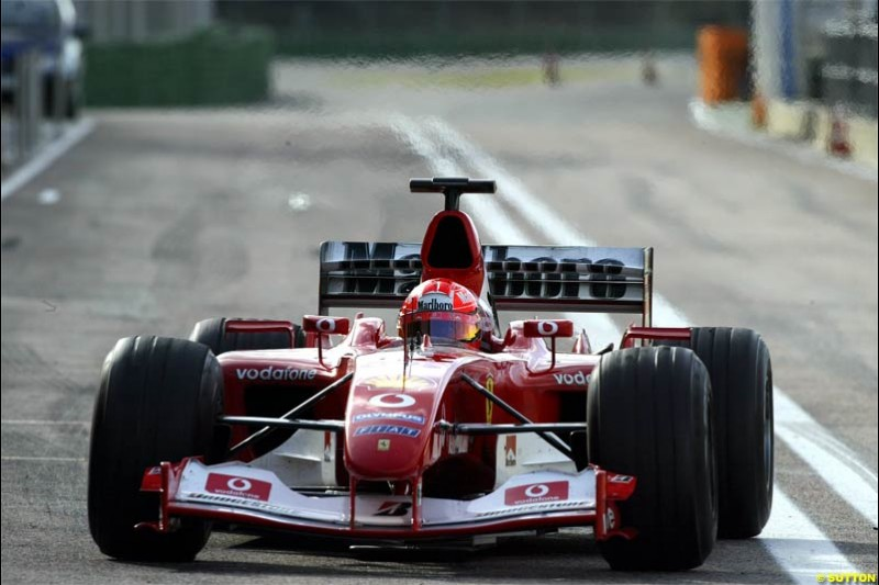F1 Testing at Valencia, Spain. January 27th 2004. Michael Schumacher, Ferrari.