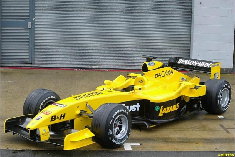The Jordan EJ14 breaks cover in Silverstone, England. February 4th 2004.