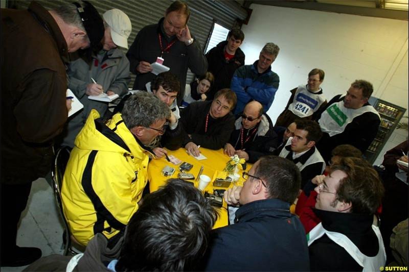 Eddie Jordan meets the press. The Jordan EJ14 breaks cover in Silverstone, England. February 4th 2004.