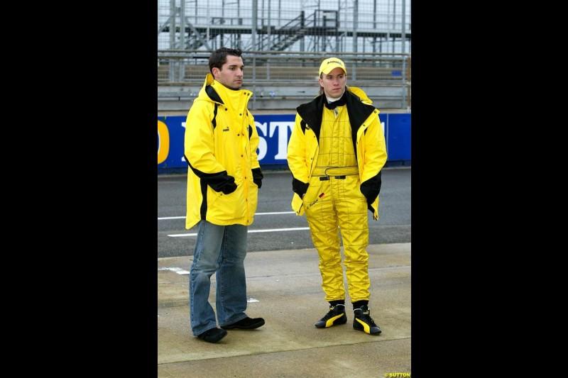 Timo Glock and Nick Heidfeld at Silverstone. February 2 2004.