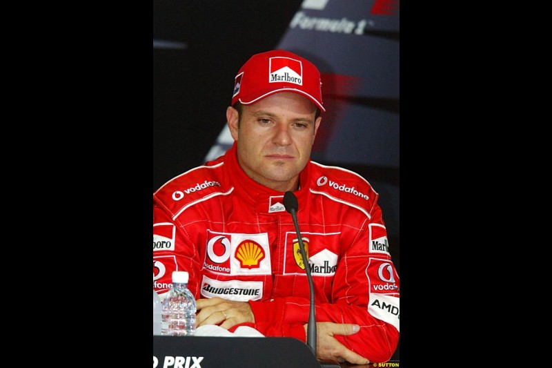 Rubens Barrichello in the post-qualifying press conference. Saturday qualifying for the Malaysian Grand Prix. Sepang, Kuala Lumpur, Malaysia. March 20th 2004.
