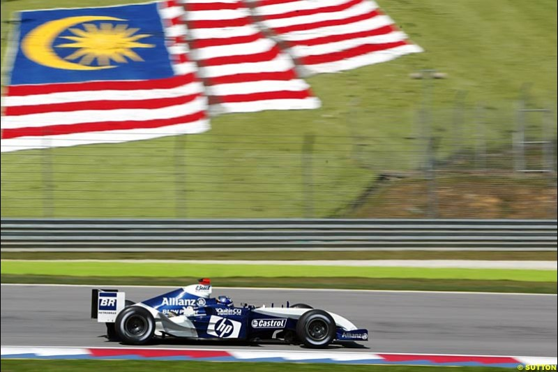 Juan Pablo Montoya, Williams. Saturday practice for the Malaysian Grand Prix. Sepang, Kuala Lumpur, Malaysia. March 20th 2004.