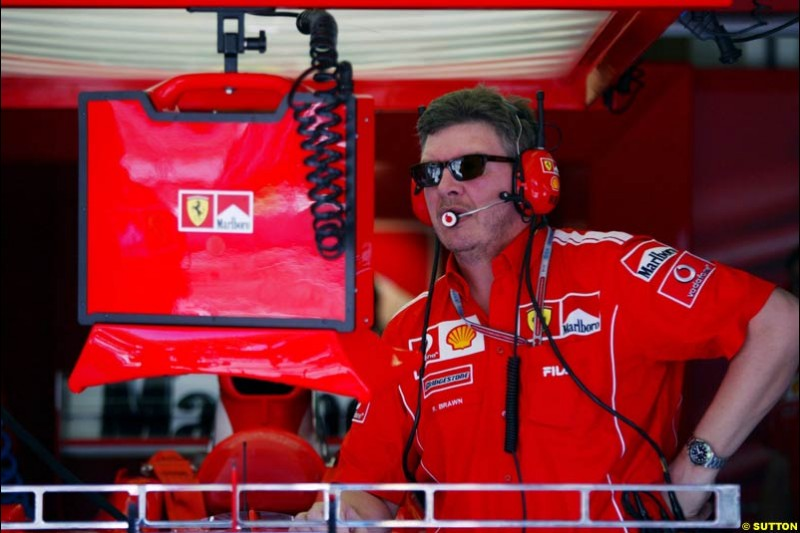 Ross Brawn, Ferrari. Saturday practice for the Malaysian Grand Prix. Sepang, Kuala Lumpur, Malaysia. March 20th 2004.