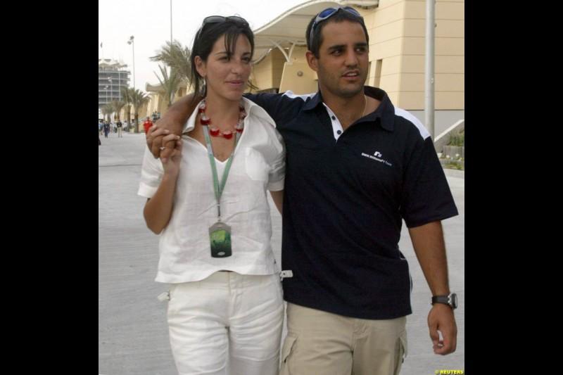 Connie and Juan Pablo Montoya. Bahrain Grand Prix, Bahrain International Circuit. April 1st, 2004.