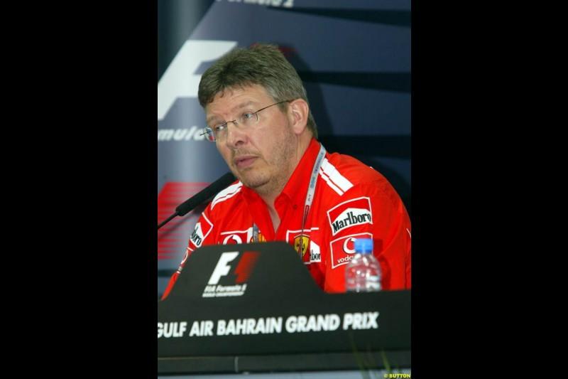 Ross Brawn, Ferrari, at the FIA press conference. Bahrain Grand Prix, Bahrain International Circuit. April 1st, 2004.
