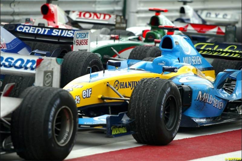 Parc Ferme The Bahrain Grand Prix. Bahrain International Circuit, April 4th 2004.