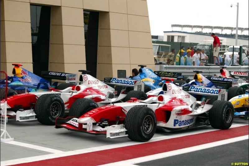 Parc Ferme. The Bahrain Grand Prix. Bahrain International Circuit, April 4th 2004.