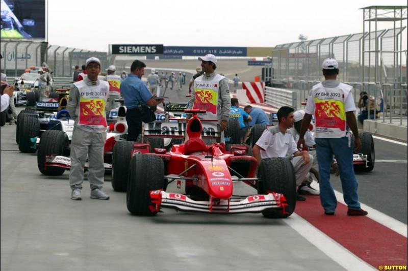 Parc Ferme inspections after the race. The Bahrain Grand Prix. Bahrain International Circuit, April 4th 2004.