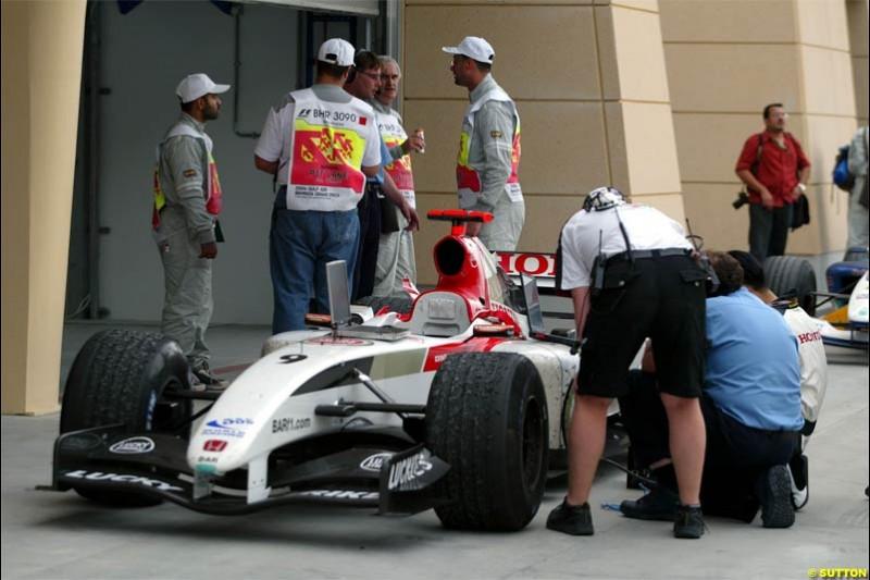 Jenson Button's car inspected at Parc Ferme. The Bahrain Grand Prix. Bahrain International Circuit, April 4th 2004.