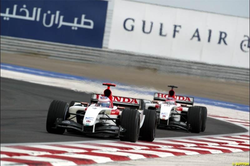 The BAR duo of Jenson Button and Takuma Sato. The Bahrain Grand Prix. Bahrain International Circuit, April 4th 2004.