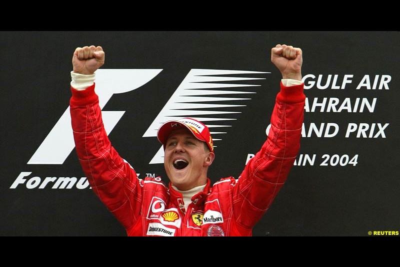 Race winner Michael Schumacher. The Bahrain Grand Prix. Bahrain International Circuit, April 4th 2004.