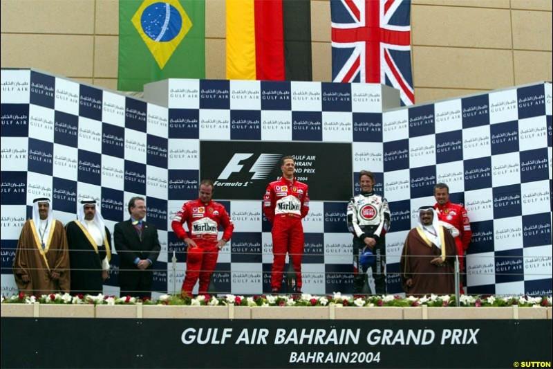 The Podium. 1st, Michael Schumacher, Ferrari; 2nd, Rubens Barrichello, Ferrari; 3rd, Jenson Button, BAR. The Bahrain Grand Prix. Bahrain International Circuit, April 4th 2004.