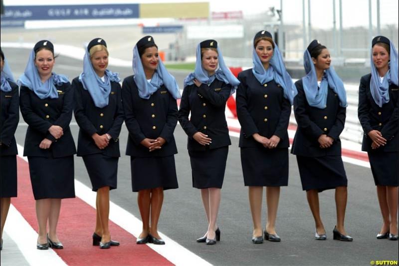 Gulf Air Stewardesses. The Bahrain Grand Prix. Bahrain International Circuit, April 4th 2004.
