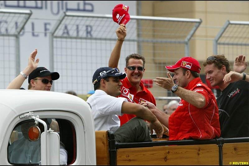 The Drivers Parade. The Bahrain Grand Prix. Bahrain International Circuit, April 4th 2004.