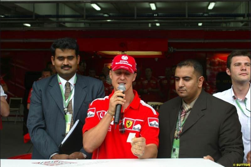 Michael Schumacher, Ferrari. Race Day for the Bahrain Grand Prix. Bahrain International Circuit, April 4th 2004.