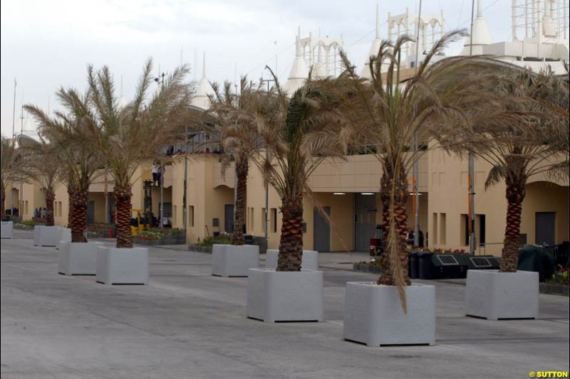 An wet, windy, and empty paddock on race morning. Race Day for the Bahrain Grand Prix. Bahrain International Circuit, April 4th 2004.