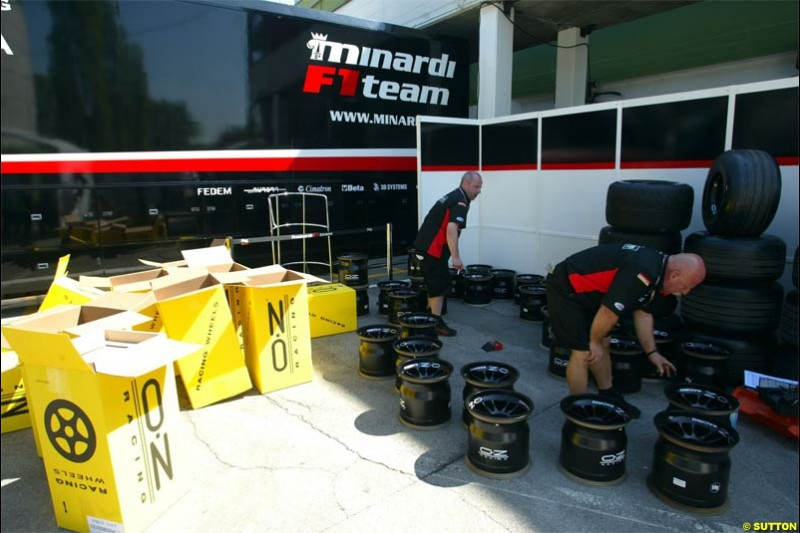 San Marino Grand Prix preparations at the Imola circuit. April 22nd, 2004.