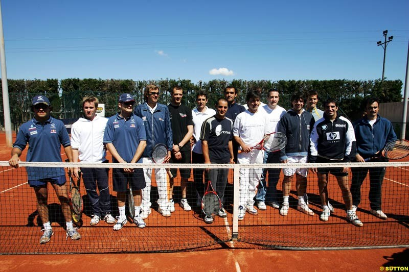 The drivers visit the Sanchez-Casal Tennis Academy, May 6th, 2004.